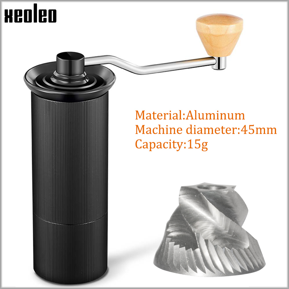 XEOLEO Manual Coffee Grinder 45MM Aluminum Coffee Miller Black/Brown/Silver/Gold 15g Mini Portable Coffee Milling Machine