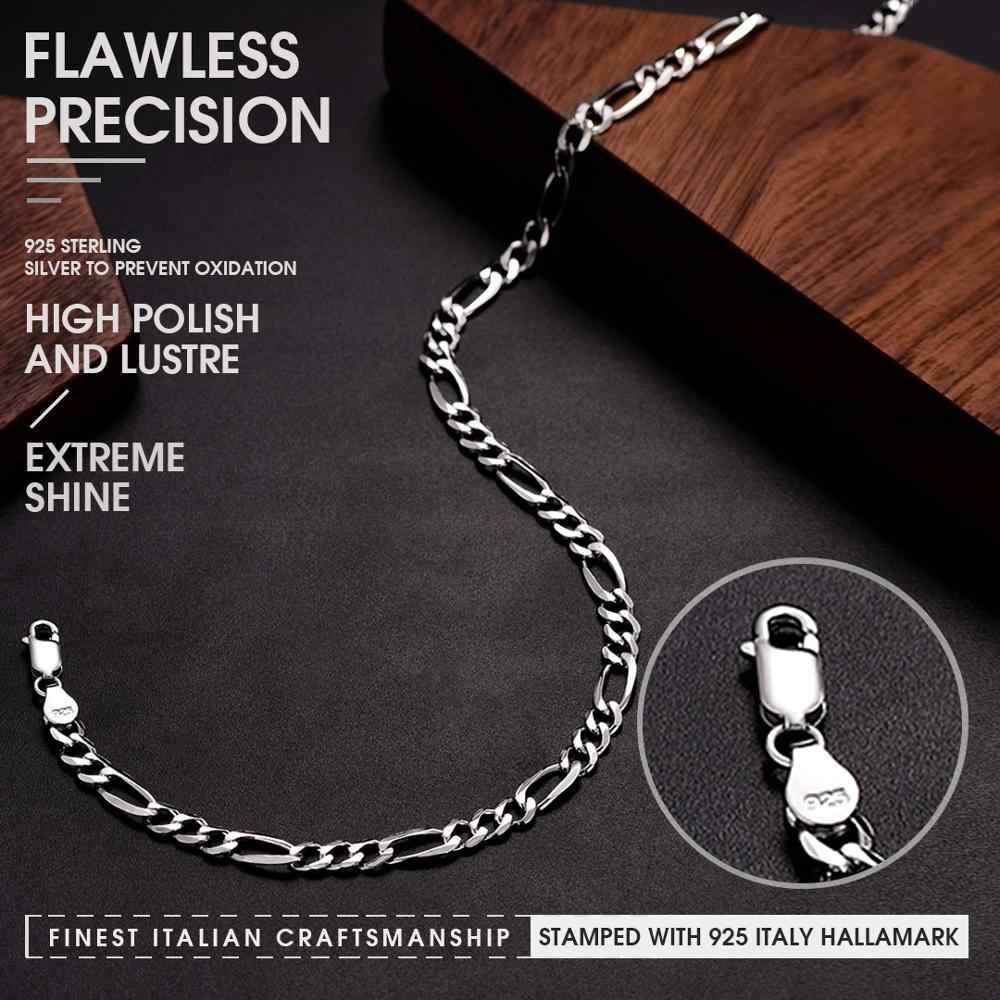 U7 925 Sterling Silver włoski kubański Link łańcuszek naszyjniki dla kobiet mężczyzn dzieci 2.8mm/5mm łańcuch figaro warstwa naszyjnik SC289