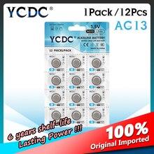 YCDC 12 sztuk AG13 357A LR44 A76 komórka przycisku bateria moneta LRA76 1.5V baterie alkaliczne dla suwmiarki Alarm zegar projekcyjny