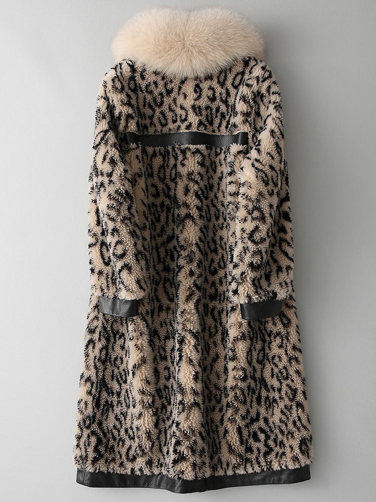 Shearling Sheep Real Fur 100% Wool Coat Female Jacket 2020 Winter Jacket Women Fox Fur Collar Leopard Long Coats MY3542 S