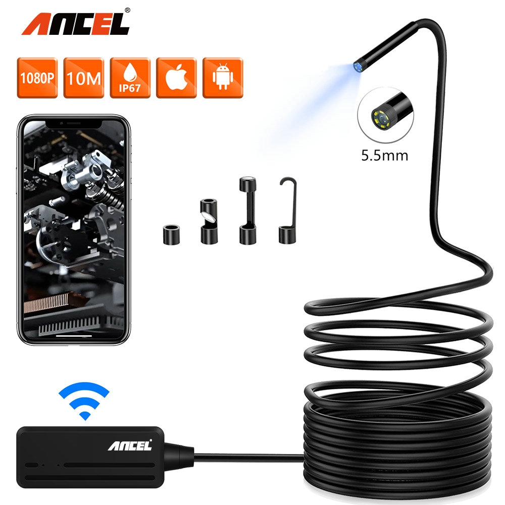 ANCEL WIiFi Endoscope HD Inspection Camera Waterproof  Borescope 1080P 6500K 5.5mm Scanner Android IOS PC HD Endoscope Meter