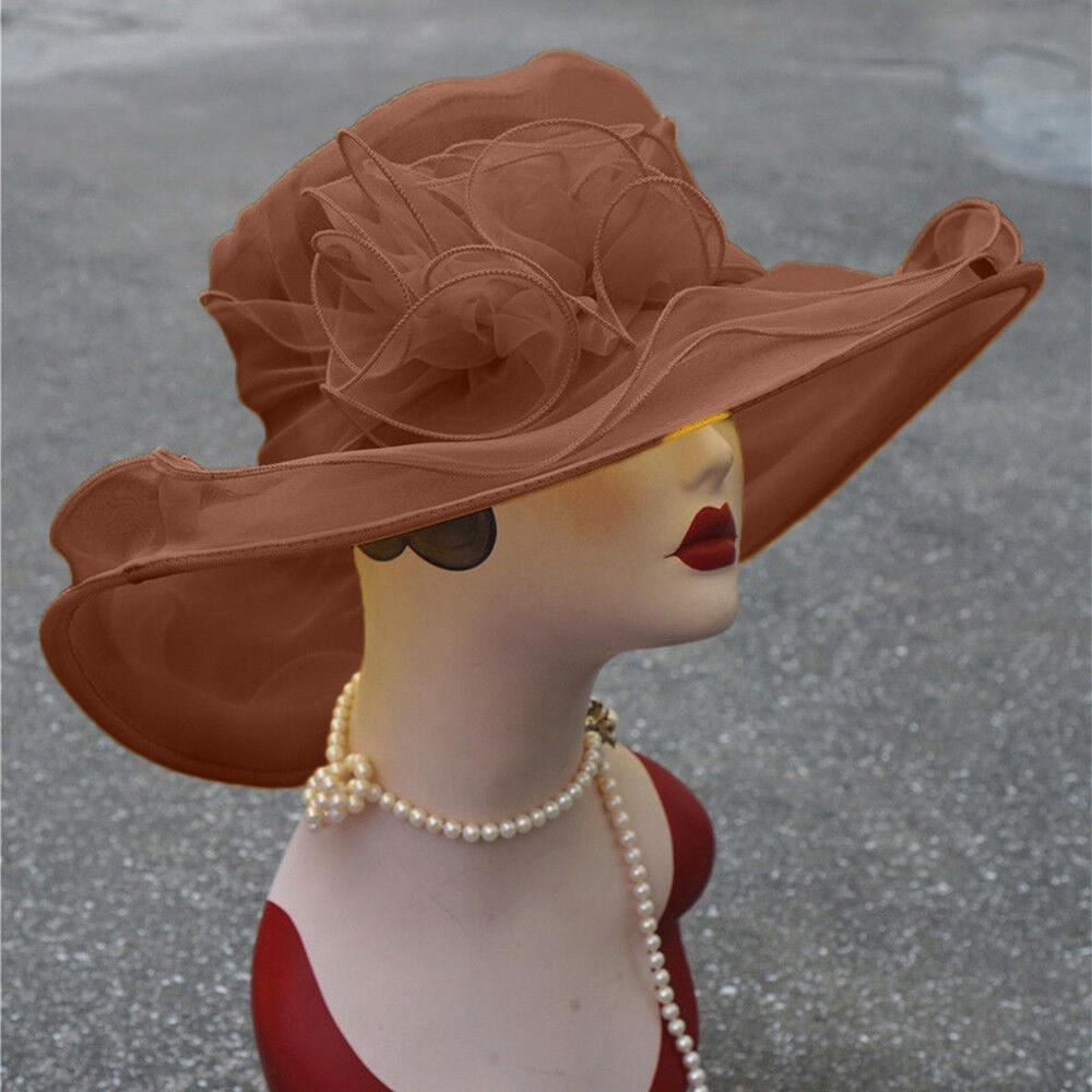 9 Colors Women Kentucky Derby Wide Brim Wedding Church Occasional Organza Sun Hat 2019 Hot Sale