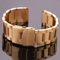 Correa de reloj de acero inoxidable, accesorio de pulsera de 18mm, 20mm, 22mm, 24mm, azul, negro y dorado