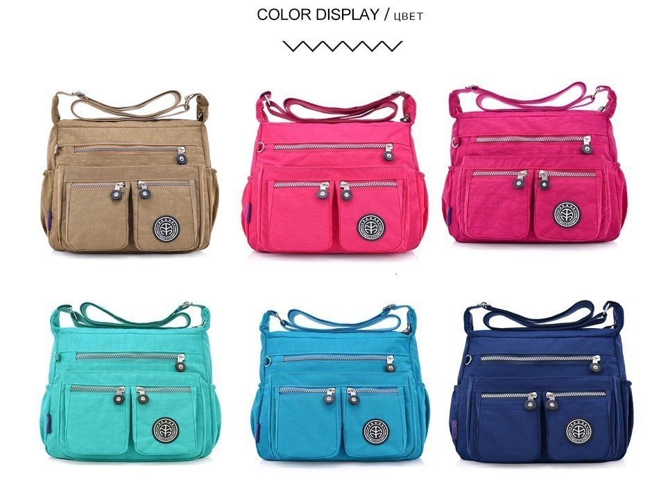 Hb7476fa923a74b04995a13f52085d54aO - Ladies Fashion Shoulder Bags for Women  Waterproof Nylon Handbag Zipper Purses Messenger Crossbody Bag sac a main