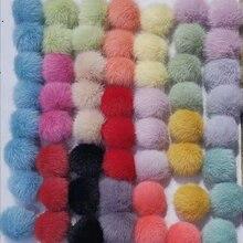 100 pcs/lot Cute Diy Pom Pom Ball for Women Shoes Bag Earrings Keychain Accessories 3.5cm Artificial Mink Fur Pom Pon Ball недорого