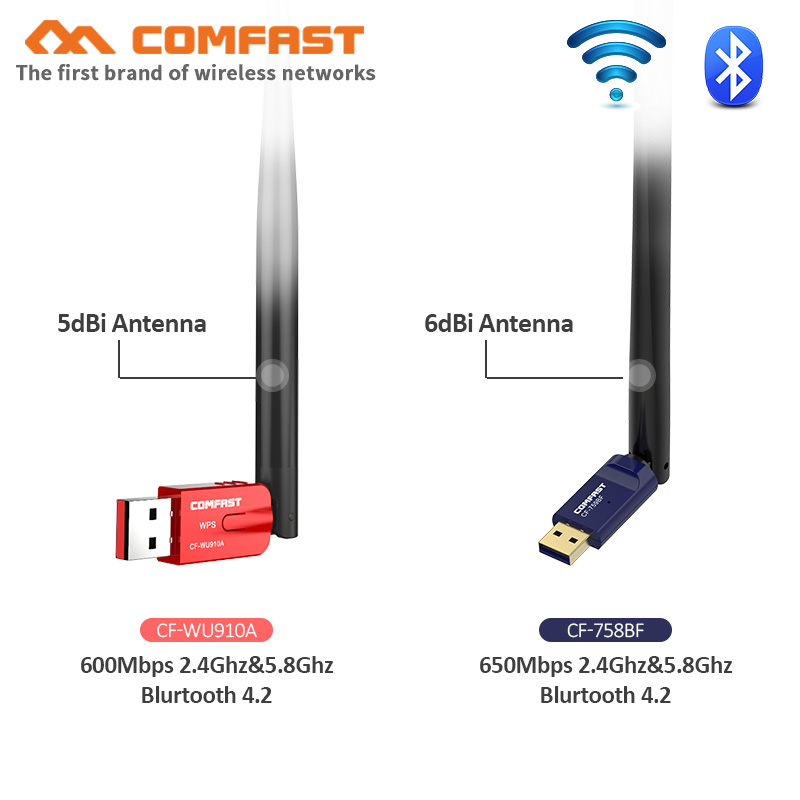 5Ghz Wireless usb Wifi Adapter 600Mbps Dual Band Antenna Free driver Bluetooth 4.2 Adapter Network Card WPS wifi receiver dongle image