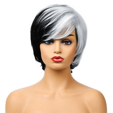 Side Part Wig Two colors Women Toupee Black/White Mixed Colo
