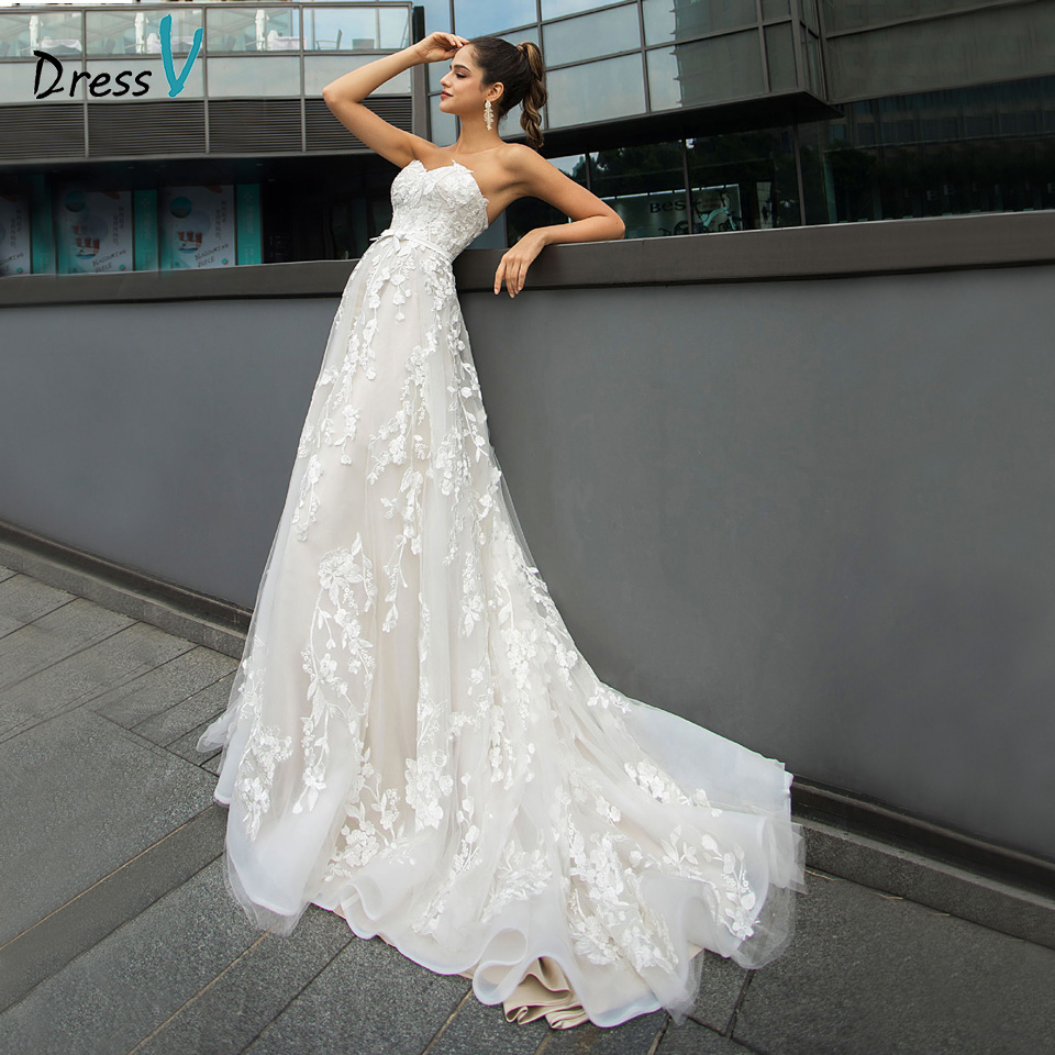 Dressv Sweetheart Neck Wedding Dress A Line Appliques Bowknot Lace Garden/Outdoor Court Train Wedding Dresses Custom