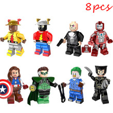 8Pcs Compatible LEGO Avengers Super Hero Joker Wolverine Iron Man Building Blocks Figure Dolls Model Christmas Gifts(China)