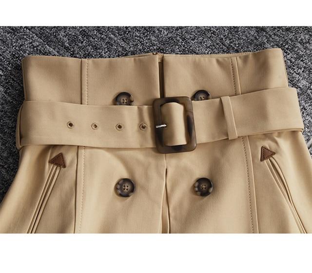 [EAM] High Waist Brown Bandage Asymmetrical Pleated Temperament Half-body Skirt Women Fashion Tide New Spring Autumn 2021 1S464 6