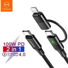 Mcdodo 100w usb tipo c cabo pd carga rápida para iphone 11 12 pro xs max x ipad macbook samsung huawei 2 em 1 carregador cabo de dados