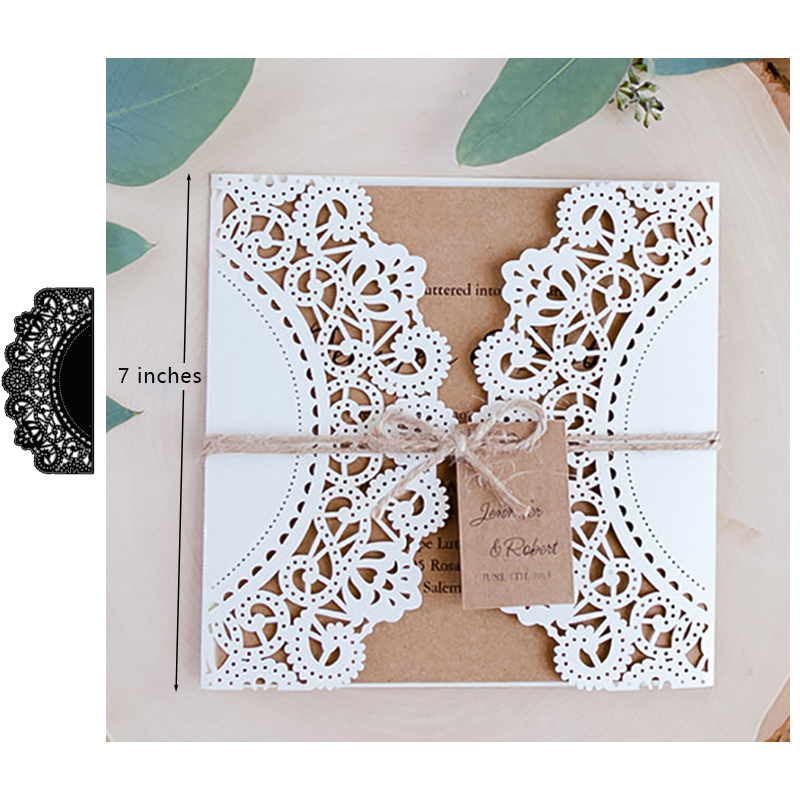 Wedding Invitations Lace Border <font><b>Dies</b></font> <font><b>Metal</b></font> <font><b>Cutting</b></font> <font><b>Dies</b></font> <font><b>New</b></font> <font><b>2019</b></font> for Cards Making Scrapbooking Birthday Greeting Card Cutter image