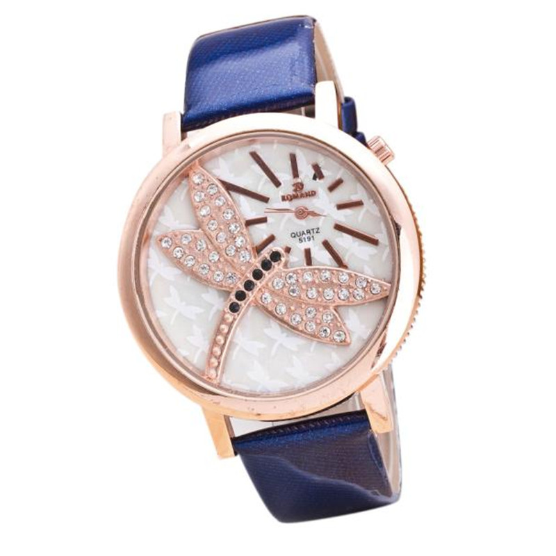 Ladies Cute Watches Luxury Crystal Dragonfly Watches Women Fashion Watches Cheap Price Gifts Bangles For Women