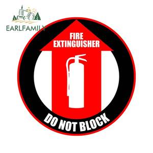 EARLFAMILY 13cm X 13cm for Fire Extinguisher Do Not Block Funny Car Stickers Car Accessories Laptop Motorcycle Waterproof Decals