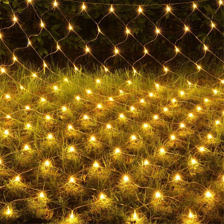 Thrisdar 2x2M 2X3M LED Net Mesh Fairy String Light Tree-wrap Light Christmas Tree Hotel Street Holiday Wedding Net Icicle Light