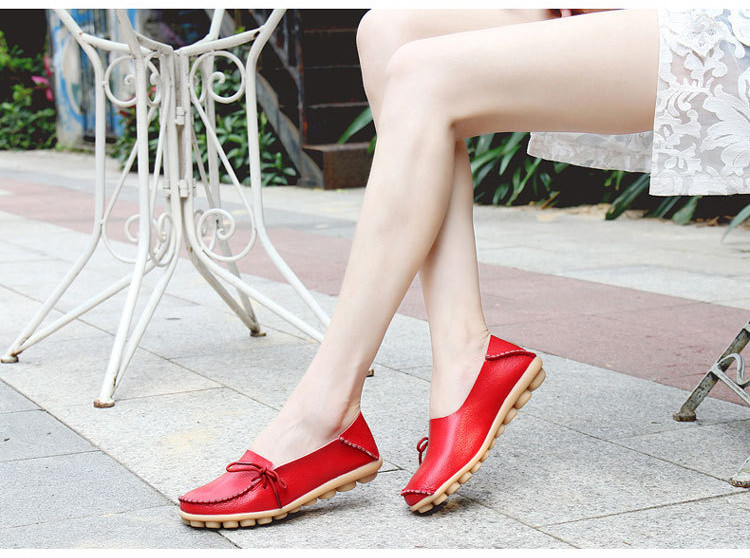 AH 911-2019 Spring Autumn Genuine Leather Women Loafers Walking Mother Flats-8