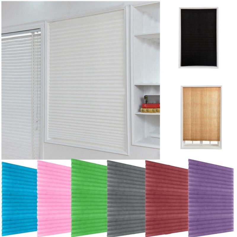 Auto-adesivo cortinas plissadas metade blackout janelas cortinas para cozinha banheiro varanda tons para café/escritório janela