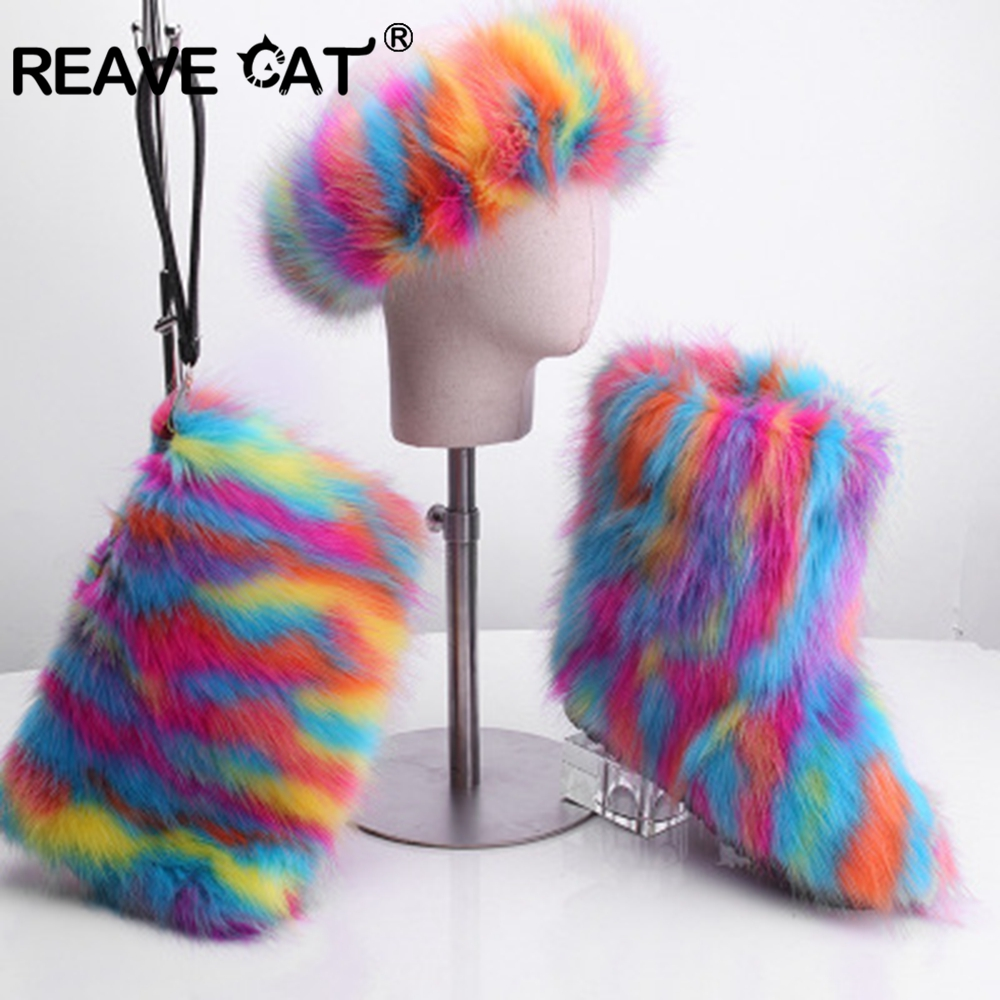 REAVE CAT Furry Boots Winter Shoes Women Snow Boots With Bag Headband 2019 New Luxury Fur Winter Boots For Women High Boot Fur