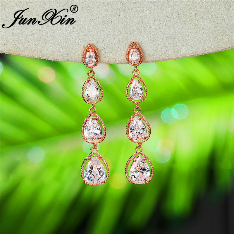 Vintage Crystal Water Drop Dangle Earrings For Women White Gold Yellow Rose Gold Long Chain Stone Wedding Earring Female Jewelry