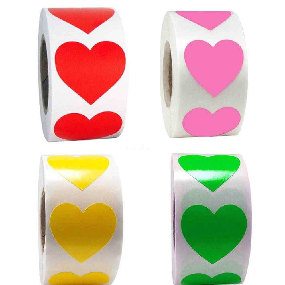 500Pcs/Roll Rood Roze Liefde Hart Stickers Scrapbooking Diy Gift Label Sticker Verjaardagsfeestje Supplies Kawaii Sticker Briefpapier