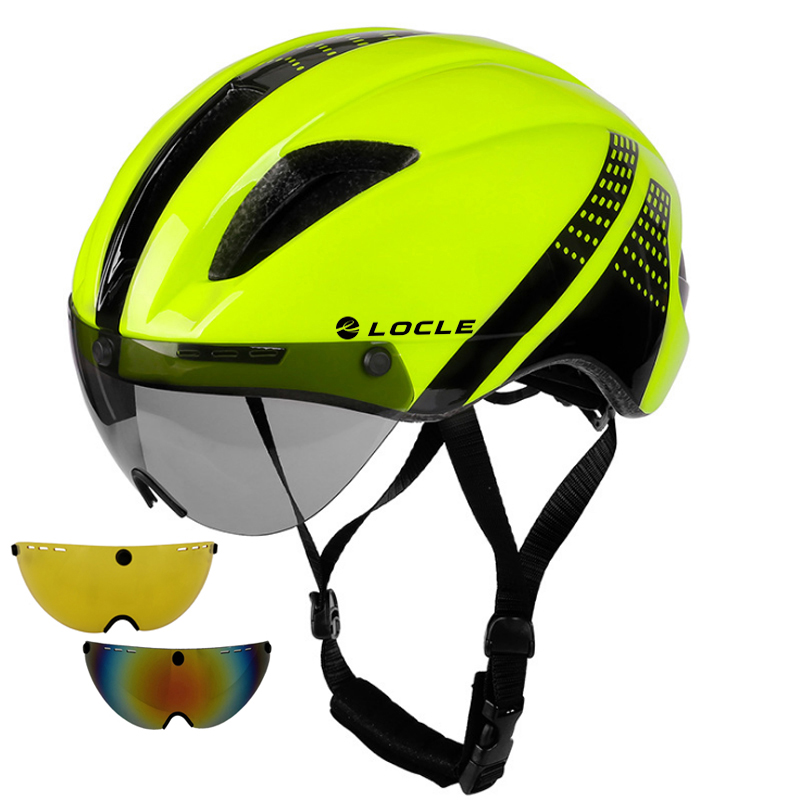 LOCLE 1 to 3 Lens Magnetic Goggles Bicycle Helmet Road Mountain MTB In-Mold Cycling Helmet Riding Speed Time-Trial Bike Helmet