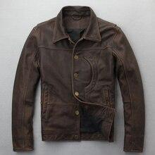 Новая. Брендовая одежда мужская повседневная винтажная кожаная куртка, Мужская куртка из натуральной кожи