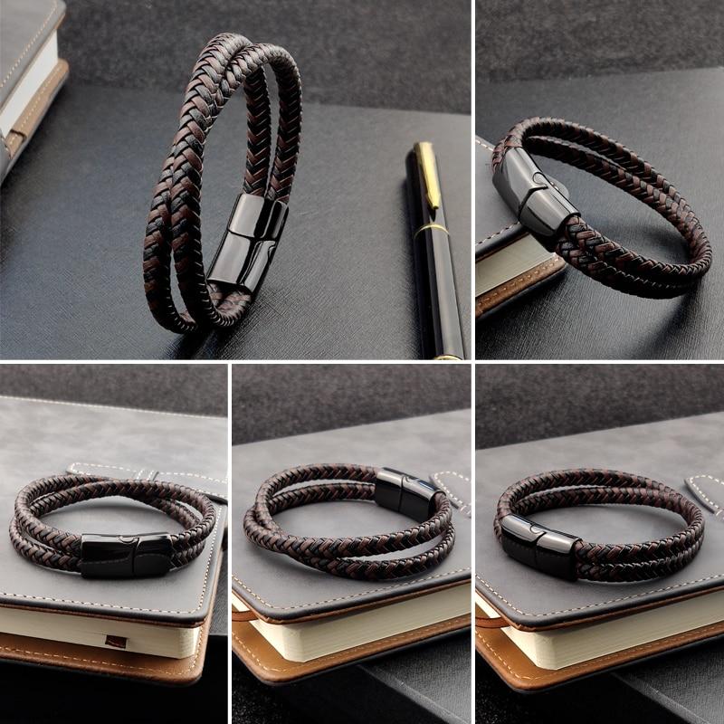 Bracelet en titane et acier, Double couche, marron et noir, corde tressée, de haute qualité, en acier inoxydable, magnétique, idée cadeau pour femmes 4
