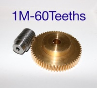 1Set  1M 60Teeths Precision Copper Turbo Worm Reducer Worm Gear Screw Lifting Machine Accessories  Gear hole:10mm  Rod hole:6mm|Gears| |  -