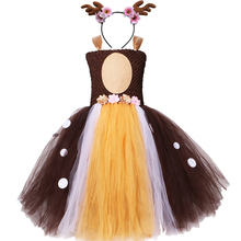 Blumen Deer Tutu Kleid mit Stirnband Braun Tüll Mädchen Geburtstag Party Kleid Kinder Mädchen Halloween Weihnachten Rentier Hirsch Kostüm