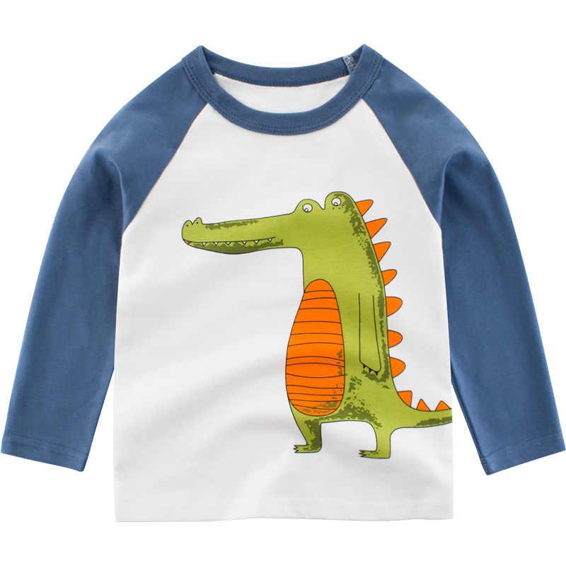 Qnpqyx Nieuwe Lente Lange Mouw Tshirt Kleine Jongen Shirts Katoen Cartoon Dinosaurus Verjaardag T-shirt Kinderkleding Kinderen Tops Tees