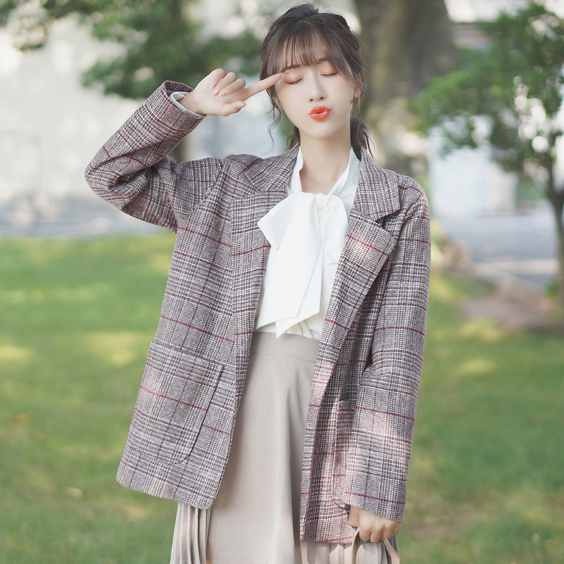 Korean Plaid Ladies Blazer Gray Simple Loose Casual Suit Jacket Stylish Blazer Paillette Women's Clothing Spring Autumn MM60NXZ