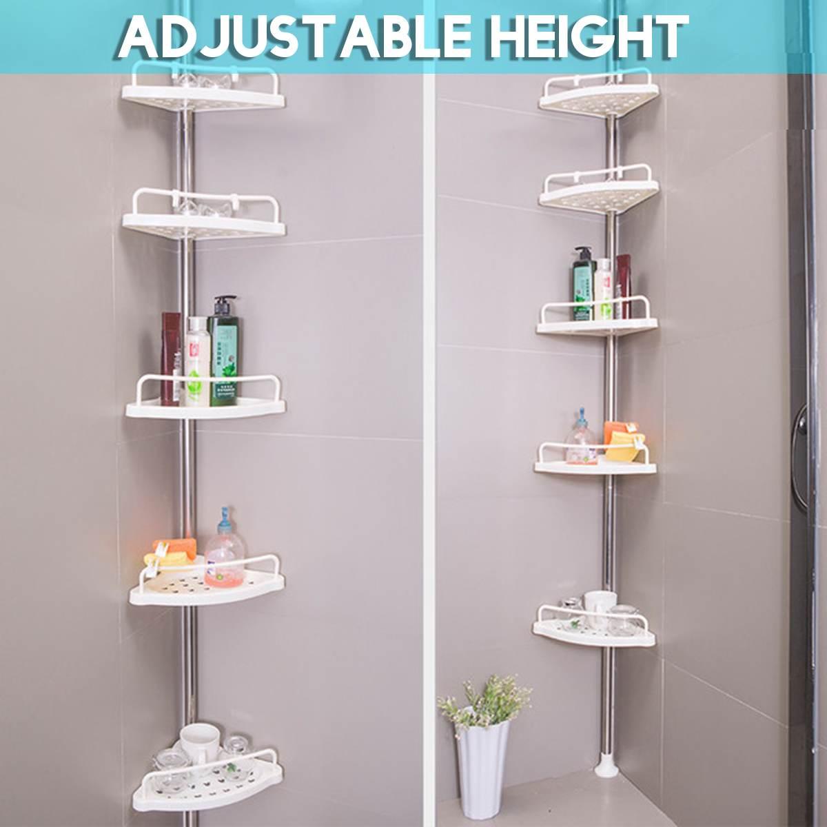 1Set Stainless Steel 5 Tier Telescopic Bathroom Corner Shelf Rack Shower Caddy Storage Bathroom Shelves Space Saving Bath Access
