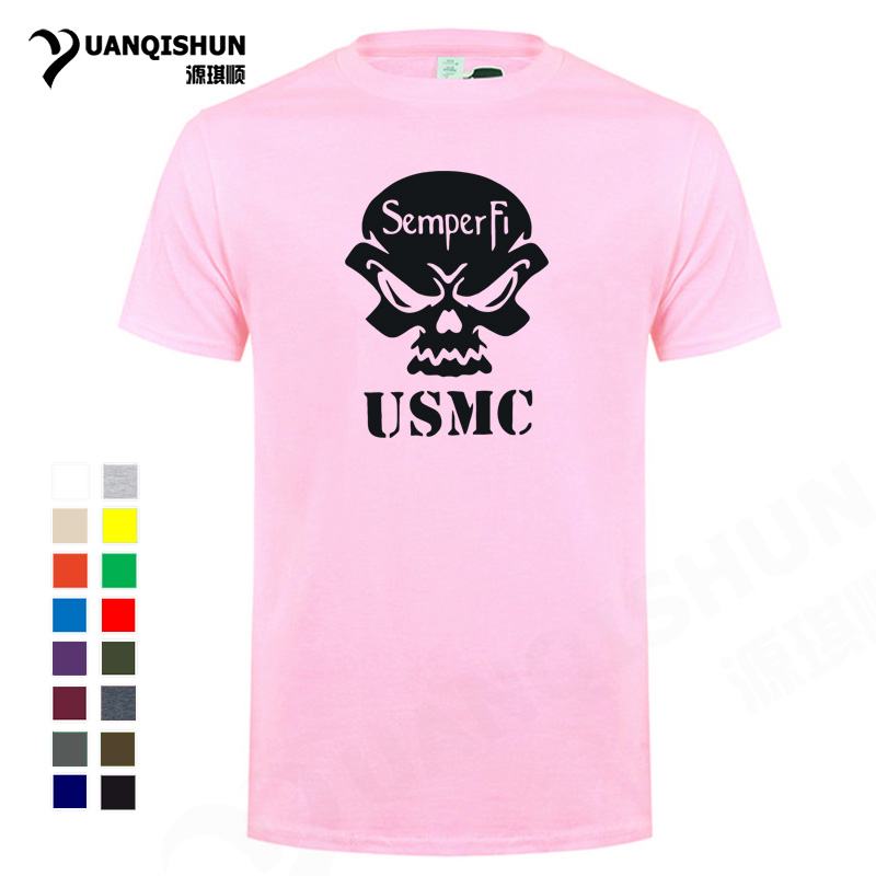 Personality <font><b>USMC</b></font> Skull <font><b>T</b></font> <font><b>shirt</b></font> 2019 Summer Fashion Men's Cool <font><b>T</b></font>-<font><b>shirt</b></font> 16 Colors Short sleeves Tops Tee 100% Cotton XS-3XL Unisex image