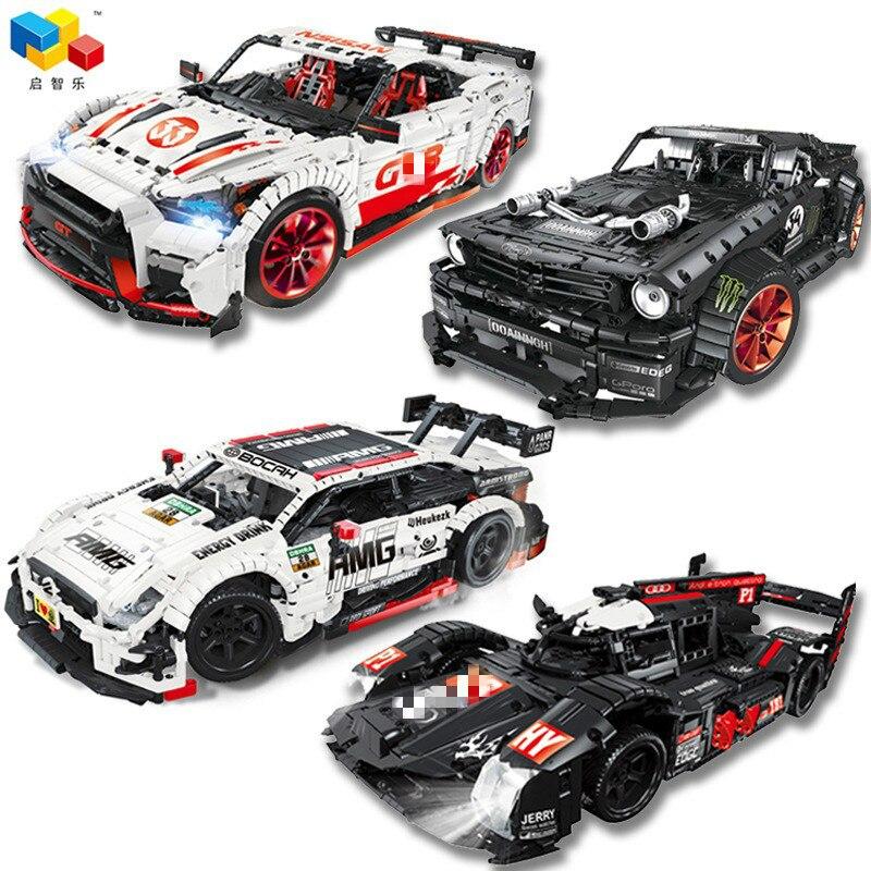 23009 23010 GT-R Racing Car with power function led light Technic 20102 MOC-22970 25326 building block bricks Kids