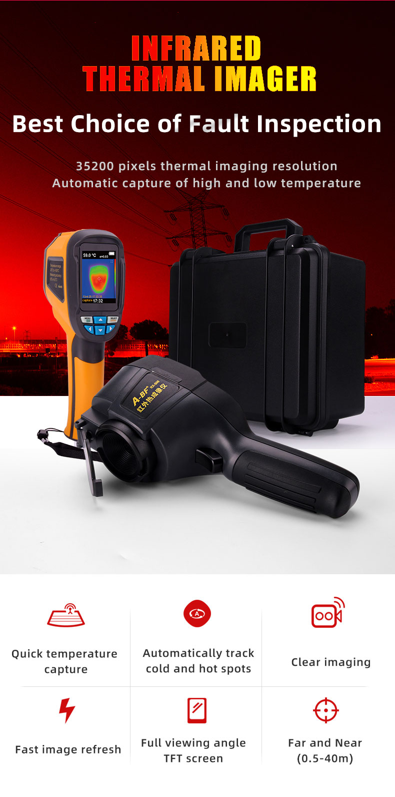 Digital Thermal Camera With A USB Cable Connected To Display For Temperature Measuring 12