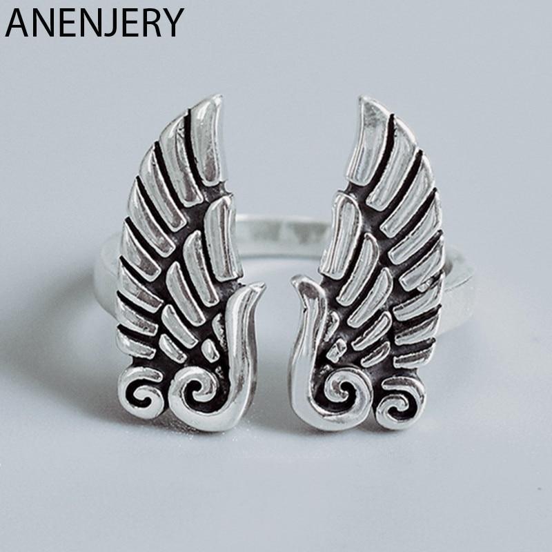 Anenjary 2019, alas de Ángel a la moda 925, anillos de plata tailandesa con apertura para dedo, joyería para mujeres, regalos, venta al por mayor, S-R495