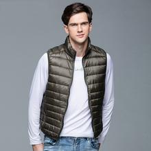 2019 New Men #8217 s Winter Coat 90 White Duck Down Vest Portable Ultra Light Sleeveless Jacket Portable Waistcoat for Men cheap STANDARD REGULAR Casual zipper Solid Broadcloth NONE Zippers Pockets NYLON 100g 0 30kgs Fashion