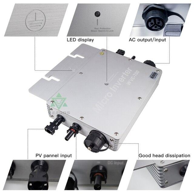 700W Microinverter Solar Grid Tie Inverter MPPT 24V 36V Micro Pure Sine Wave Convertor 110V 220V AC For Home Smart Inverter|Solar Inverters|   -