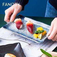 FANCITY – assiette à Sushi en céramique créative, assiette à dîner japonaise, assiette rectangulaire, Restaurant, assiette spéciale en porcelaine, assiette à Sushi