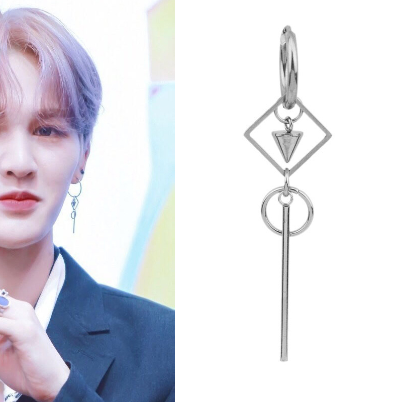 1pcfashion korea Kpop bangtan boy jin suga jimin jungkook RM v Titanium Steel Square circle tassel Earring For Women men earring