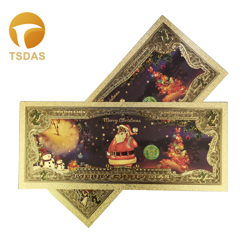Santa Claus Gold Foil Banknotes Colorful USD 2 Dollar Gold Banknote As Christmas Gift 10pcs/lot Gold Plated Banknotes