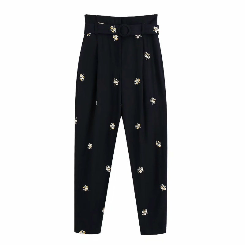 New 2020 Women Vintage Flower Embroidery Harem Pants Chic High Waist Sashes Paper Pants Female Pantalones Mujer Trousers P803