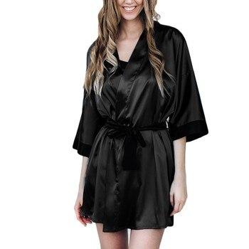Women Lace Bathrobe Lingerie Sleepwear Black 1
