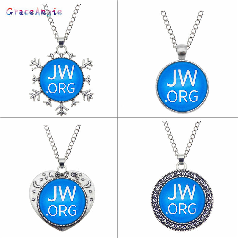 GraceAngie 1pc Antique Silver Blue Glass Cabochon JW.org jehovah's witnesses Pendant Necklace With Chain Women Men Jewelry