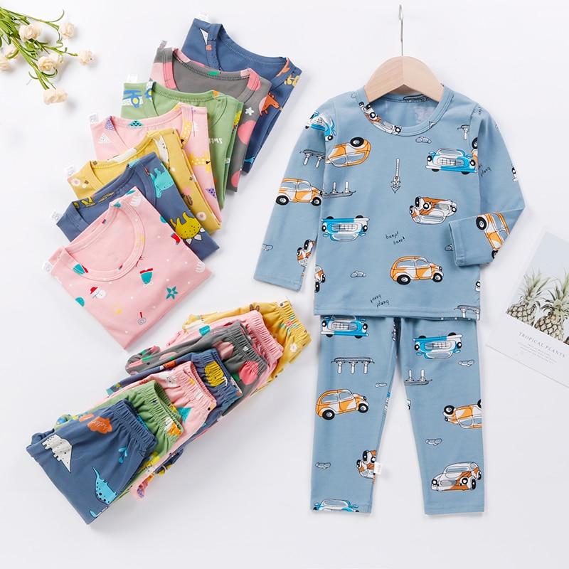 Весна-Осень 2021, детские пижамы, одежда для сна для мальчиков и девочек, Детский комплект для отдыха для малышей, комплект одежды для подростк...