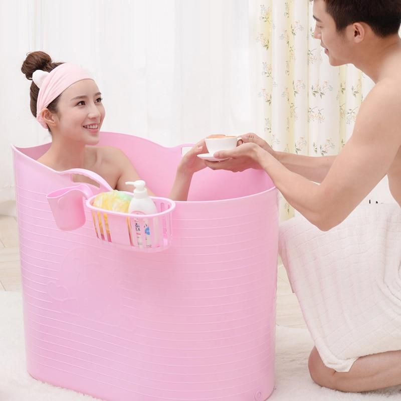 Épaissi dur en plastique adulte bain baril Extra grand bain baril enfants bain demi-pli baignoire baril de bain avec couvercle - 2