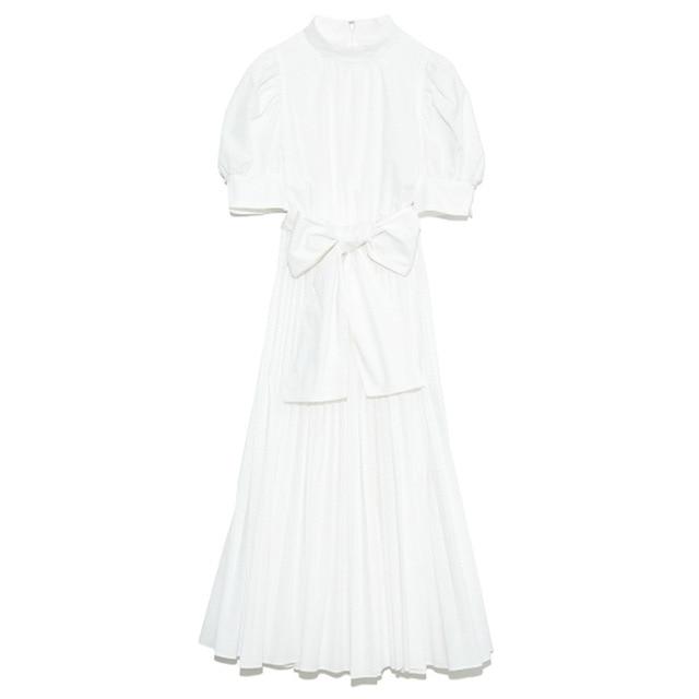 Kuzuwata 2021 Spring Summer Fashion Woman Clothing High Waist Slim Puff Sleeve Rosette Solid Dresses Japanese Sweet Vestidos 5