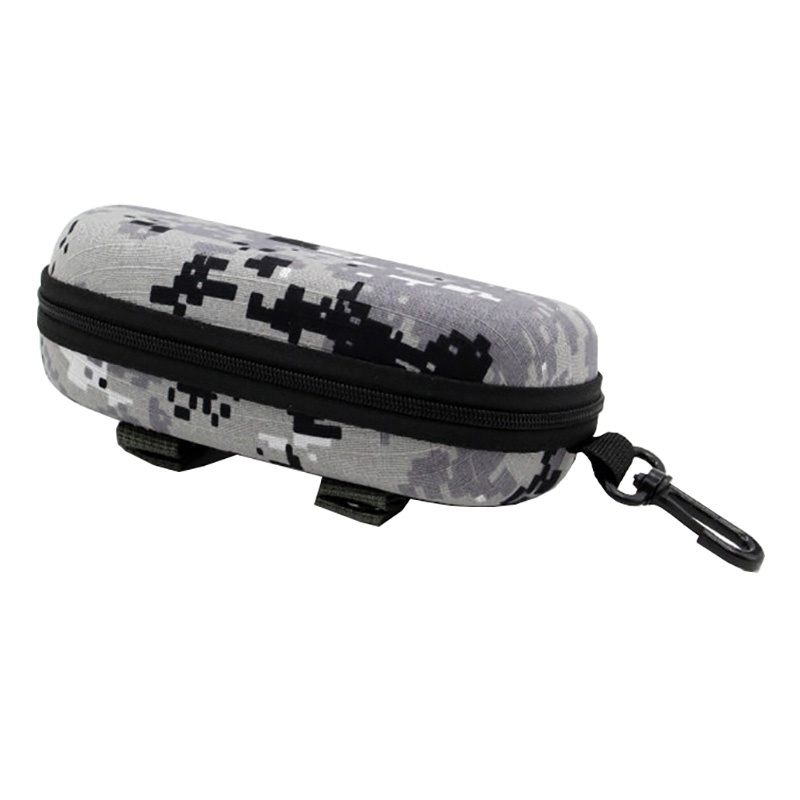 Camouflage Tactical Sun Goggle Glasses Case EVA Portable Sunglasses Storage Box Protector Outdoor EDC Accessory Bag With Hook