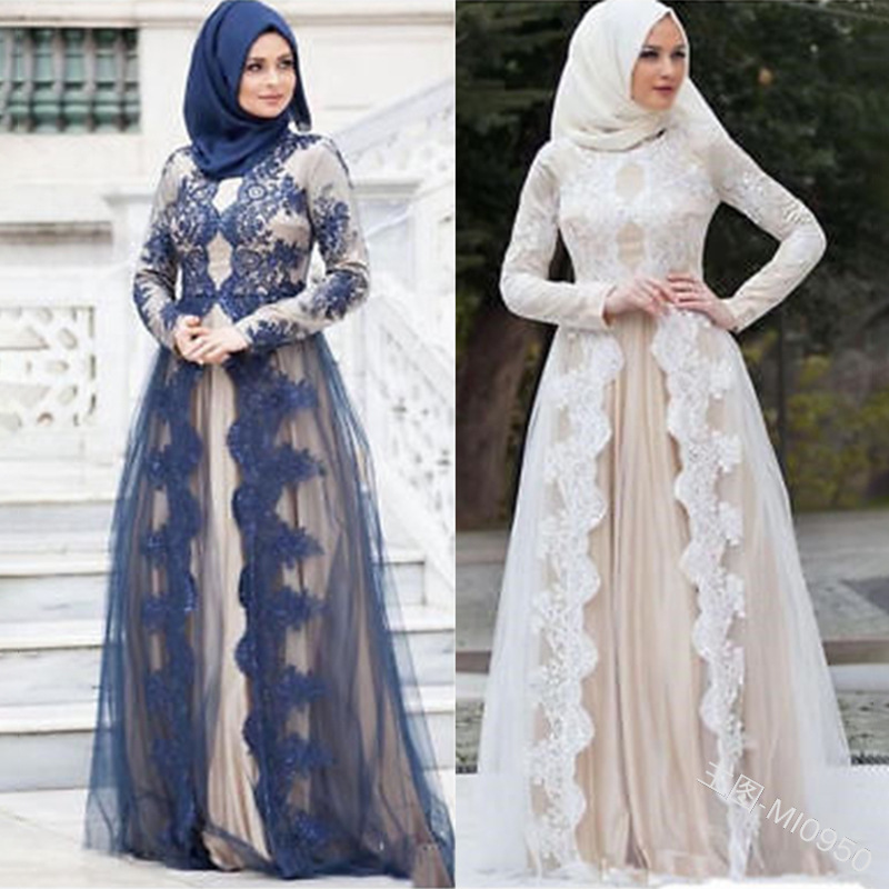 New Muslim Mesh Lace Patchwork Long - Sleeved National Style Robe Woman
