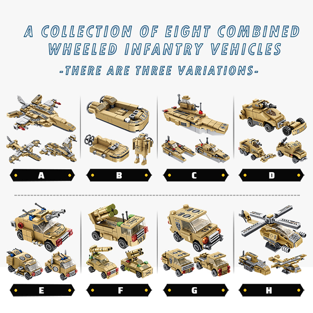 725PCS City WW2 Tank Wheeled Infantry Vehicle Model Building Blocks Military Helicopter Car Weapon Bricks Toys For Children